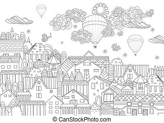 cityscape, luft, heiß, himmelsgewölbe, dein, färbung, phantasie, luftballone, buch