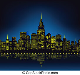 cityscape, lumières ville
