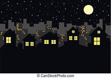 cityscape, městská silueta, večer
