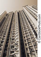 cityscape, magas, fehér, szoba, külső