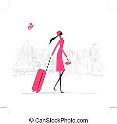 cityscape, mala, mulher, moda, fundo