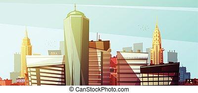 cityscape, manhattan, plano de fondo, rascacielos