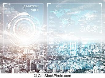 cityscape, mercado, estoque, dados, fundo