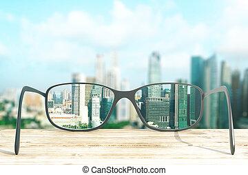 cityscape, messo fuoco, in, occhiali, lenti