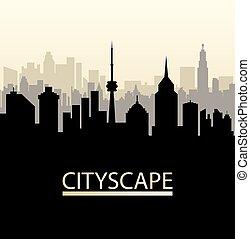 cityscape, miasto, prospekt., nowoczesny