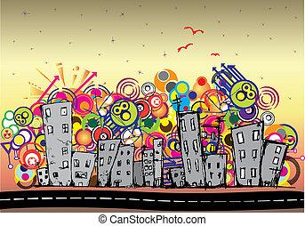 cityscape, miejski, tło, sztuka