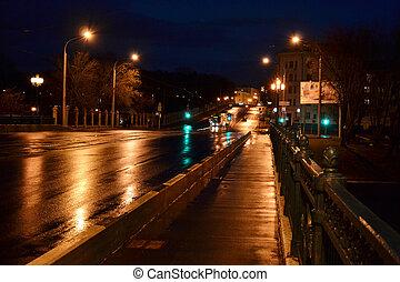 cityscape, minsk, noche