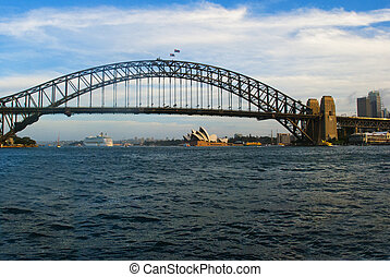 cityscape, mit, beherbergen brücke, sydney, australia
