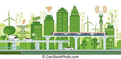 cityscape, mit, infrastruktur, und, transport