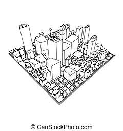 cityscape, modèle, -, croquis, 3d