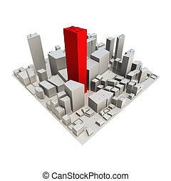 3D cityskape model at daytime with a red skyscraper in the center - no shadow