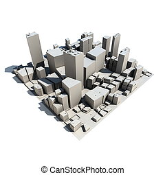 Cityscape Model 3D - with Shadow