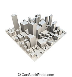 cityscape, modello, 3d, -, no, uggia