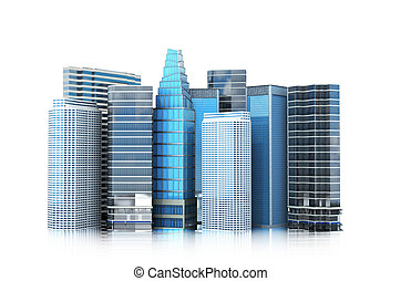cityscape, modern building on a white background. 3d illustration