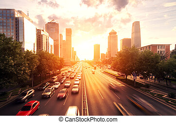 cityscape, moderno, tramonto