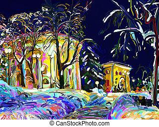 cityscape, nacht, gemälde, winter, digital