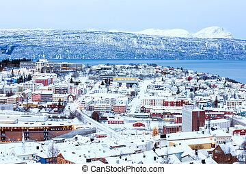 cityscape , narvik, νορβηγία , λυκόφως