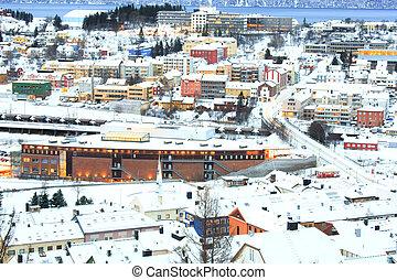 cityscape, narvik, noruega, invierno, anochecer