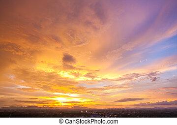 cityscape, niebo zachodu słońca