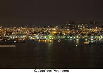 cityscape night lights of the city to the horizon, Varna. Bulgaria