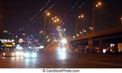 Cityscape night traffic