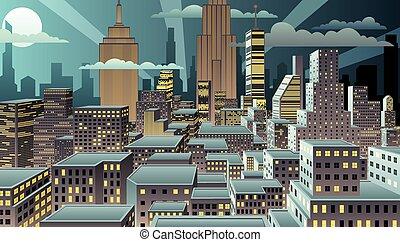 Cityscape Night - Cityscape at night. Basic (linear)...