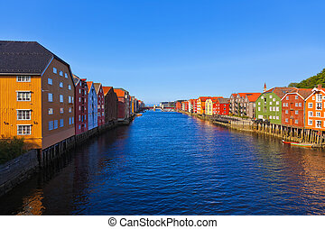 cityscape, noorwegen, trondheim