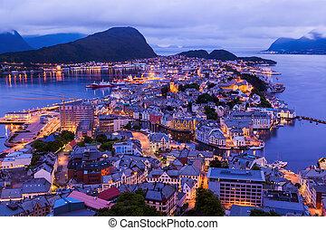 cityscape, noruega, -, alesund