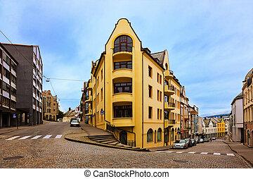 cityscape, norvège, -, alesund