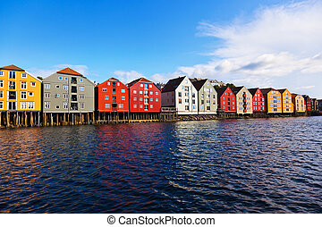 cityscape, norvège, trondheim