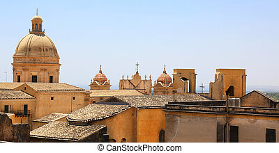 Cityscape Noto Sicily Italy - cityscape of Noto in Sicily,...