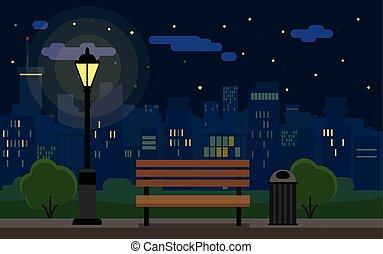 cityscape, notte, panca