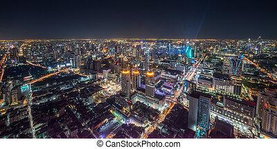 cityscape, nuit, bangkok