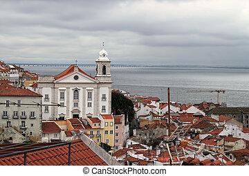 cityscape, o, alfama, lisabon, portugalsko, stavení