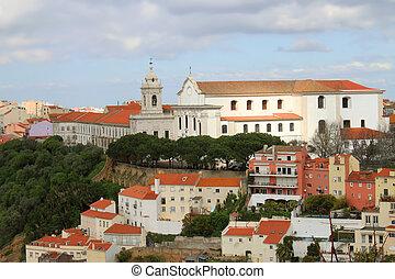 cityscape, o, lisabon, portugalsko, stavení