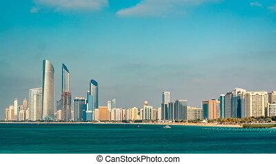 Cityscape of Abu Dhabi timelapse at Persian Gulf, UAE.