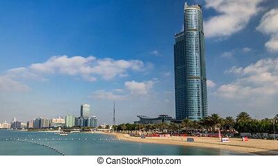 Cityscape of Abu Dhabi timelapse hyperlapse at Persian Gulf, UAE.