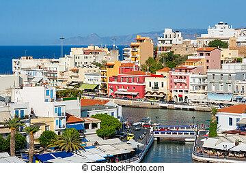 Agios Nikolaos. Crete, Greece - Cityscape of Agios Nikolaos....