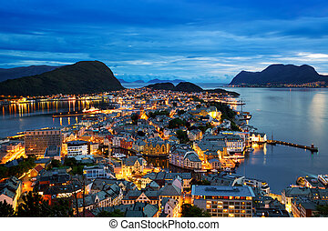 Alesund at dusk