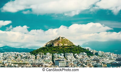 Cityscape of Athens and Lycabettus Hill