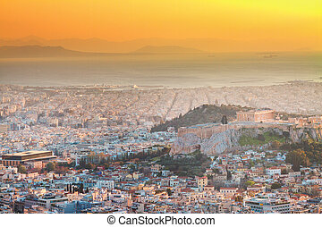 cityscape of Athens at night, Greece - cityscape of Athens...