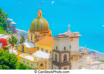 Cityscape of beautiful Positano on a clear day