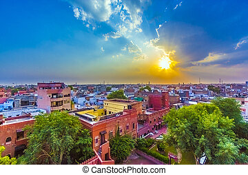 cityscape of Bikaner, old indian City in Rajasthan with a...
