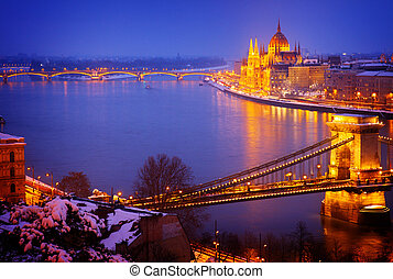 cityscape of  Budapest at night, Hungary