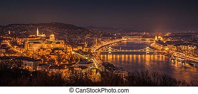 Cityscape of Budapest, Hungary at Night