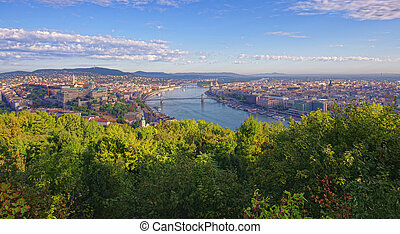 cityscape of Budapest, Hungary in a sunny day