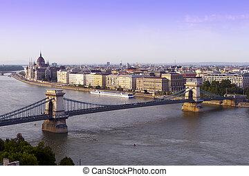 Cityscape of Budapest, the Danube bridge.