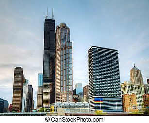 Cityscape of Chicago in the evening
