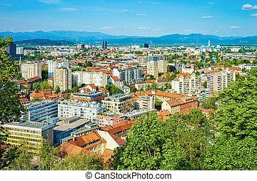 Cityscape of city center in Ljubljana