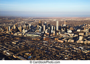 Aerial cityscape of urban Denver, Colorado, United States.